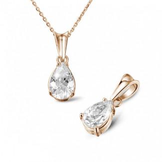1.50克拉梨形鑽石玫瑰金吊墜