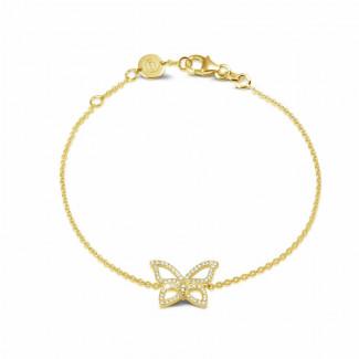 黃金鑽石手鍊 - 設計系列0.30克拉黄金密鑲鑽石蝴蝶手鐲