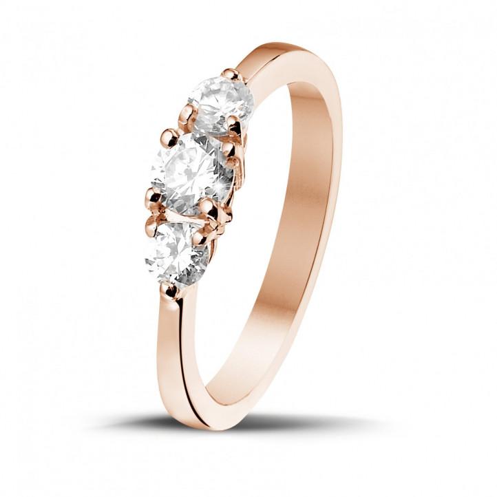 愛情三部曲0.67 克拉三鑽玫瑰金戒指