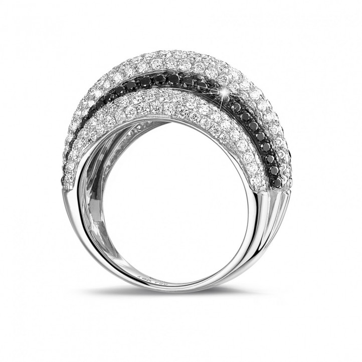 4.30克拉密鑲黑白鑽白金寬版戒指