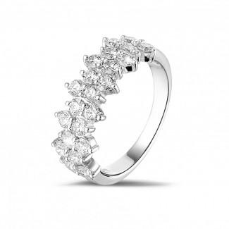 鑽石結婚戒指 - 1.20克拉白金密鑲鑽石戒指