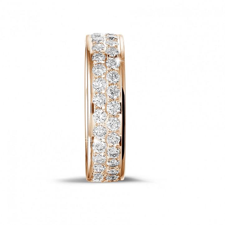 1.15 克拉玫瑰金密鑲兩行鑽石戒指