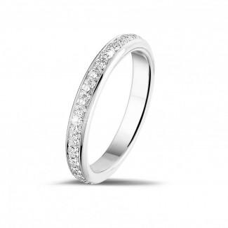 經典婚戒 - 0.55 克拉白金密鑲鑽石戒指