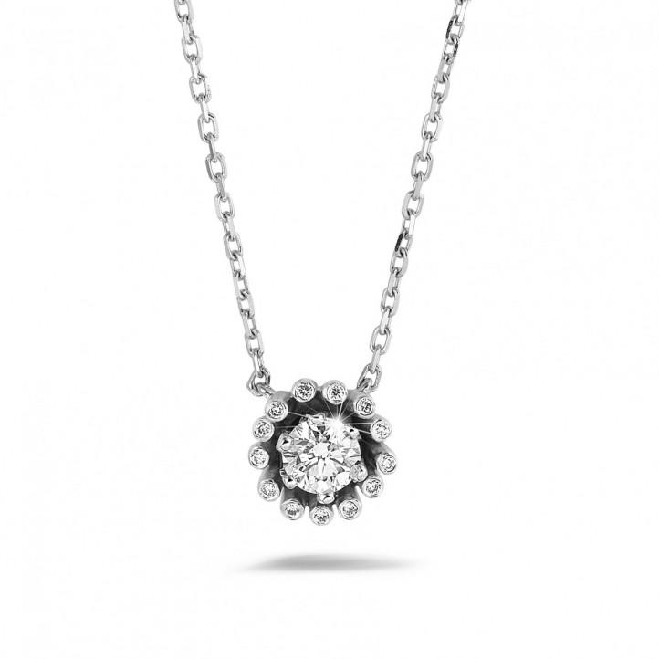 設計系列0.50 克拉白金鑽石吊墜項鍊