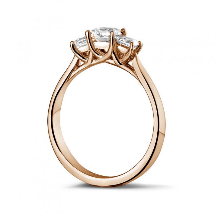 愛情三部曲0.70克拉三鑽玫瑰金戒指