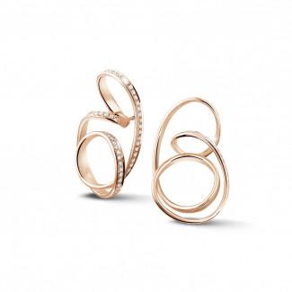 玫瑰金 - 設計系列1.50 克拉玫瑰金密鑲鑽石耳環