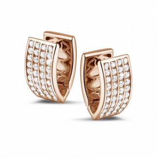 玫瑰金鑽石耳環 - 2.16克拉玫瑰金密鑲鑽石耳釘