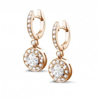 玫瑰金鑽石耳環 - Halo 光環1.55克拉玫瑰金密鑲鑽石耳環