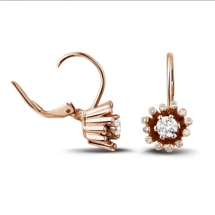 設計系列0.50 克拉玫瑰金鑽石耳環