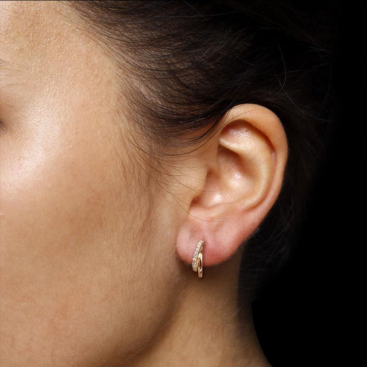 設計系列0.20克拉玫瑰金鑽石耳環