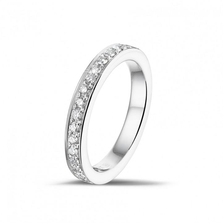 0.25克拉鑲鑽白金永恆戒指 ( 半環鑲鑽)