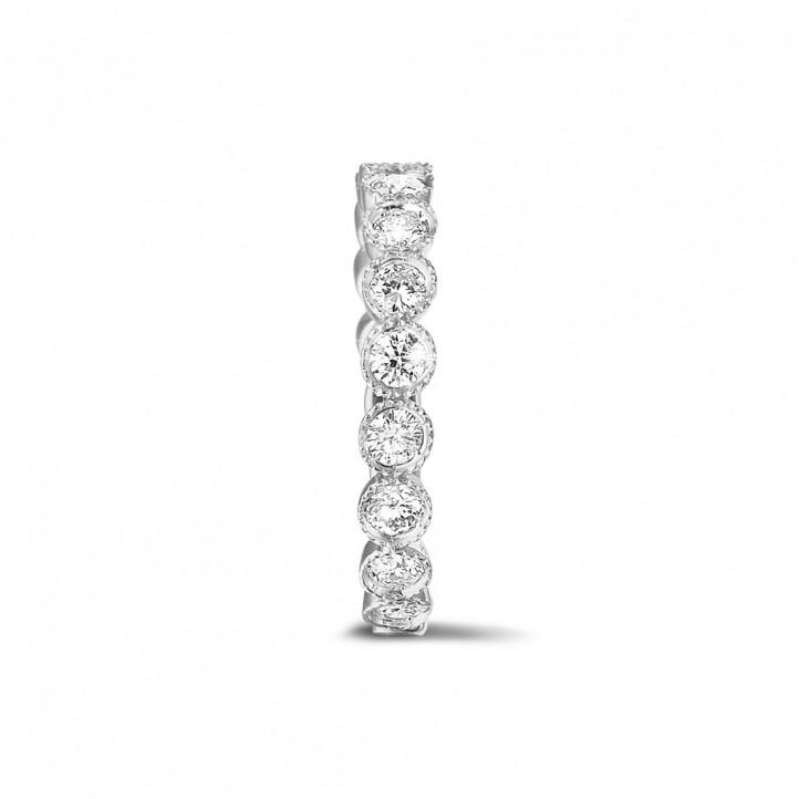 0.70 克拉可疊戴鉑金鑽石永恆戒指