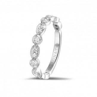 新品 - 0.30克拉可疊戴白金鑽石永恆戒指 - 欖尖形設計