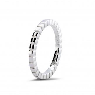 可疊戴戒指 - 可疊戴白金格子戒指