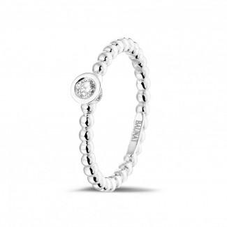 白金鑽戒 - 0.07克拉可疊戴鑽石串珠白金戒指