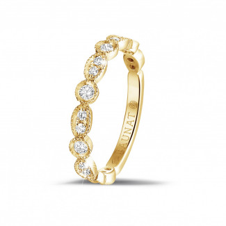 黃金鑽戒 - 0.30克拉可疊戴黄金鑽石永恆戒指 - 欖尖形設計