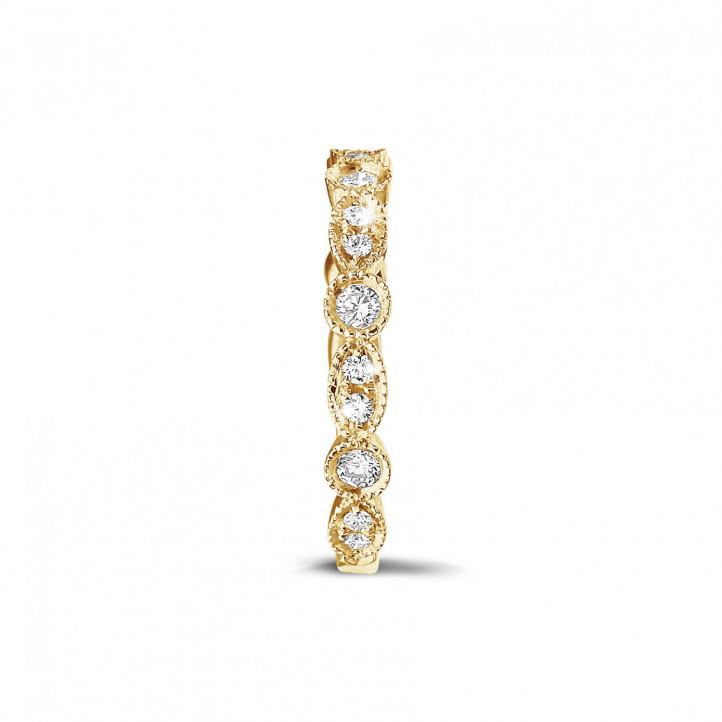 0.30克拉可疊戴黄金鑽石永恆戒指 - 欖尖形設計