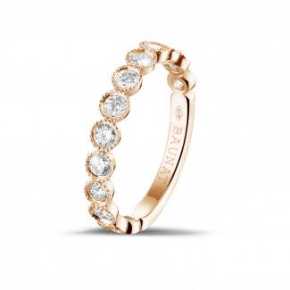 玫瑰金鑽戒 - 0.70克拉可疊戴玫瑰金鑽石永恆戒指