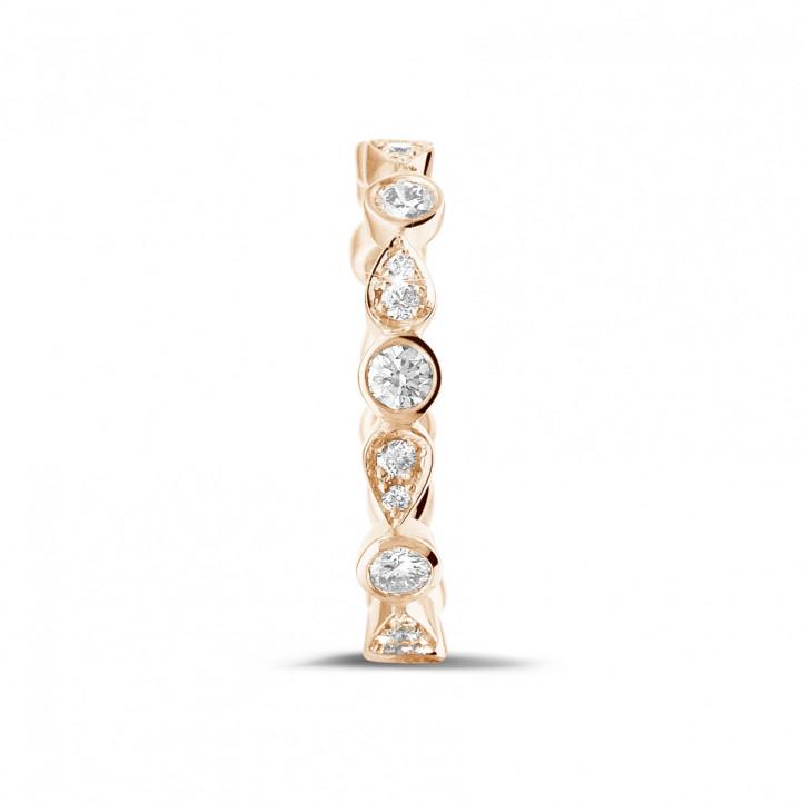 0.50克拉可疊戴玫瑰金鑽石永恆戒指 - 梨形設計