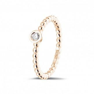玫瑰金鑽戒 - 0.07克拉可疊戴鑽石串珠玫瑰金戒指