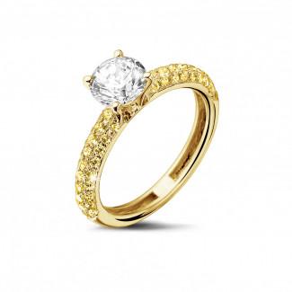 黃金鑽石求婚戒指 - 1.00克拉黃金單鑽戒指 - 鑲嵌半圈黃鑽