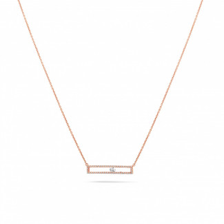 新品 - 0.30克拉玫瑰金滑鑽項鍊
