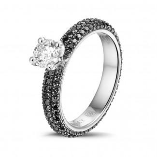 鑽石戒指 - 0.50克拉白金單鑽戒指- 戒托群鑲黑鑽(滿鑲)