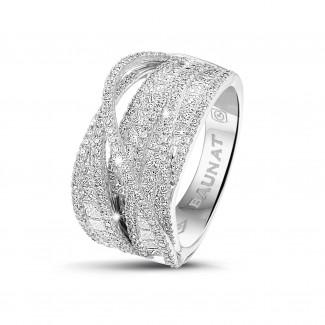 - 1.90克拉白金圓形與公主方鑽石戒指