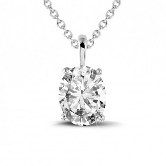 鑽石項鍊 - 1.90克拉白金橢圓形鑽石吊墜