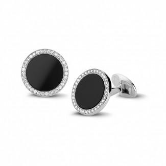 ホワイトゴールドカフスボタン - オニックスとラウンドダイヤモンド付きホワイトゴールドカフスボタン