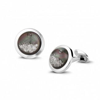 ホワイトゴールドカフスボタン - タヒチのマザーオブパールとラウンドダイヤモンド付きホワイトゴールドカフスボタン