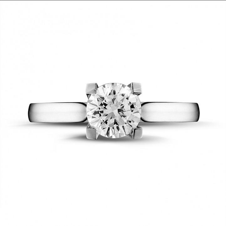 1.00 カラットの例外的な品質のダイヤモンド付きホワイトゴールドリング (D-IF-EX)