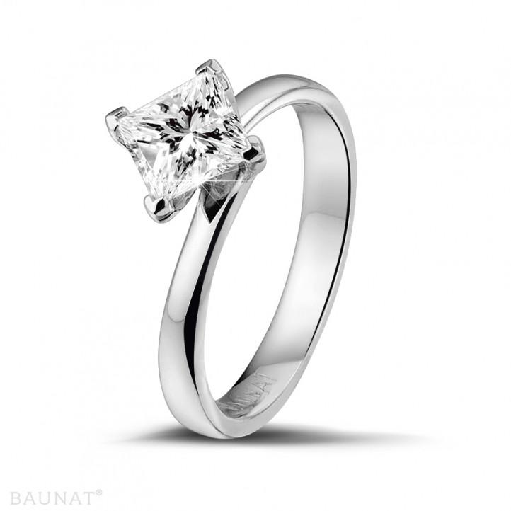 1.00 カラットの例外的な品質のプリンセスダイヤモンド付きホワイトゴールドリング (D-IF-EX)