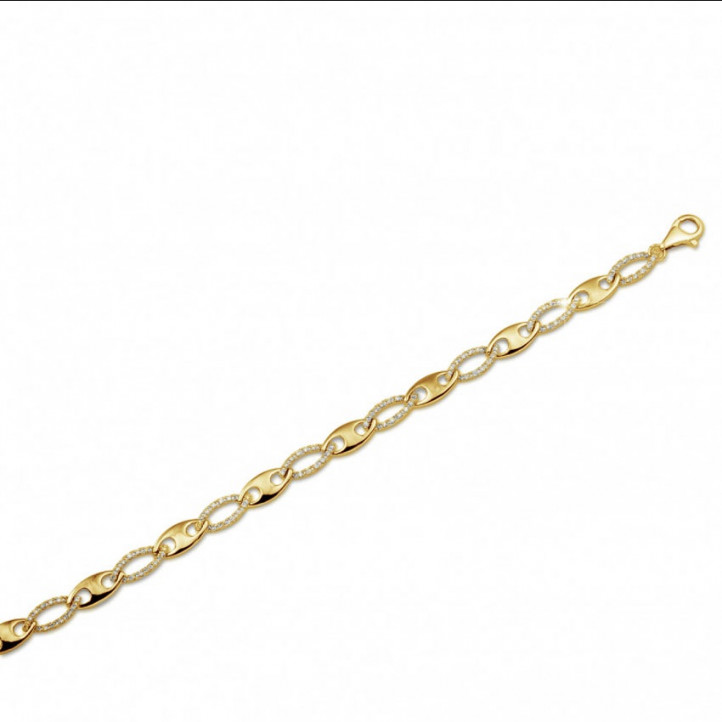0.88 カラットのイエローゴールドダイヤモンドチェーンブレスレット