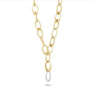 ネックレス - 1.70カラットのダイヤモンドをあしらったイエローゴールドのチェーンネックレス