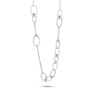 ネックレス - ホワイトゴールドのロングチェーンネックレス