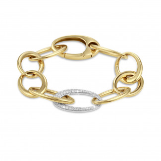 ブレスレット - 1.70カラットのダイヤモンド・チェーン・ブレスレット(イエローゴールド
