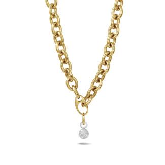 ネックレス - 1.44カラットのダイヤモンドをあしらったイエローゴールドのチェーンネックレス