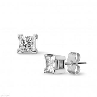 一粒ダイヤモンドピアス - 1.00 カラットのプリンセスダイヤモンド付きホワイトゴールドイヤリング