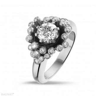 エンゲージリング - 0.90 カラットのホワイトゴールドダイヤモンドデザインリング