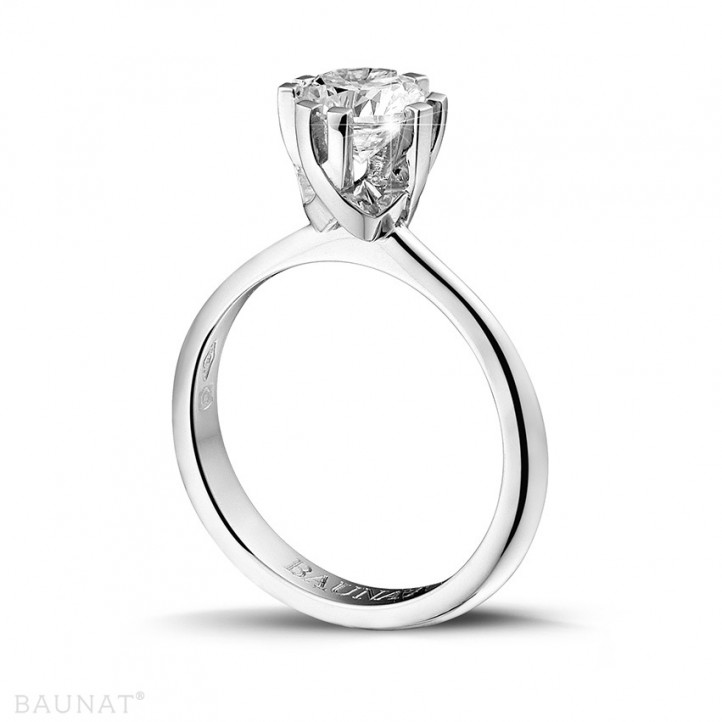 1.25 カラットの8つのプロング付きプラチナソリテールダイヤモンドデザインリング