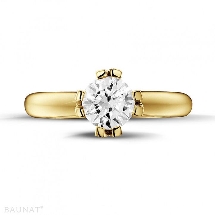 1.25 カラットの8つのプロング付きイエローソリテールダイヤモンドデザインリング