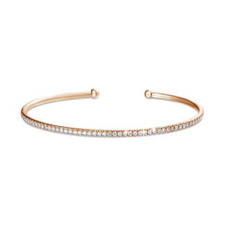 ブレスレット - 0.75 カラットのピンクゴールドダイヤモンドバングル