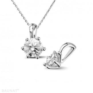 ネックレス - 1.00 カラットのラウンドダイヤモンド付きホワイトゴールドソリテールペンダント