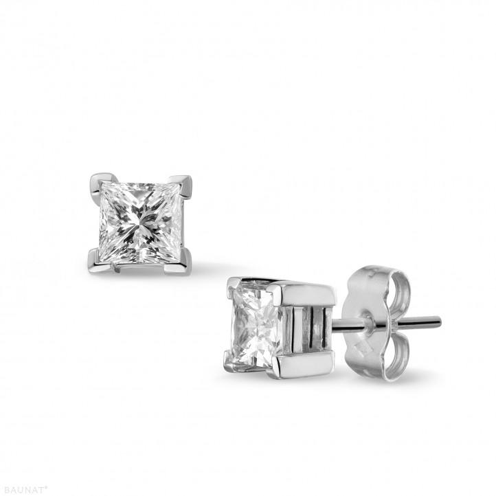 1.00 カラットのプリンセスダイヤモンド付きホワイトゴールドイヤリング