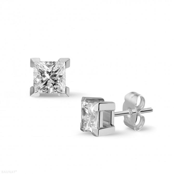 1.50 カラットのプリンセスダイヤモンド付きホワイトゴールドイヤリング