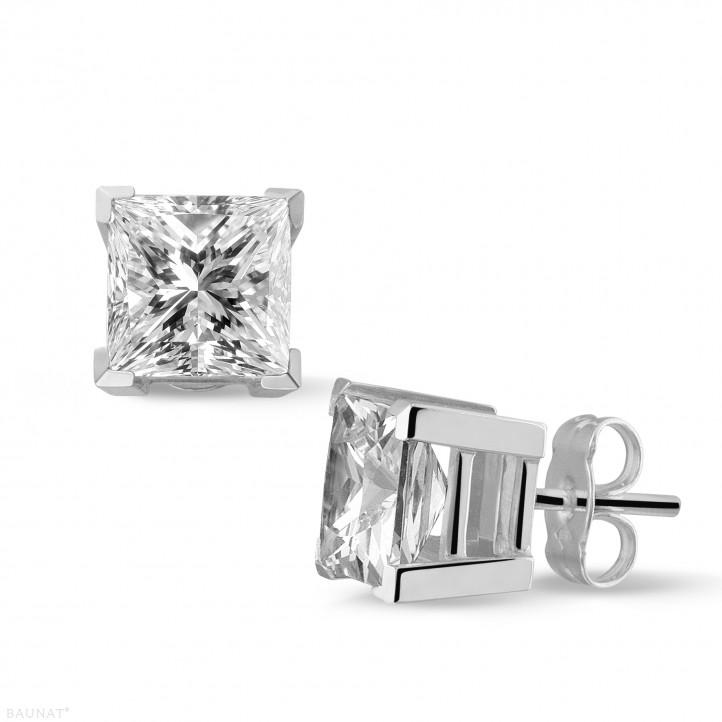 3.00 カラットのプリンセスダイヤモンド付きホワイトゴールドイヤリング