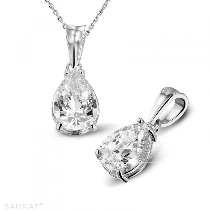 2.50 カラットのペアーシェイプのダイヤモンド付きホワイトゴールドソリテールペンダント