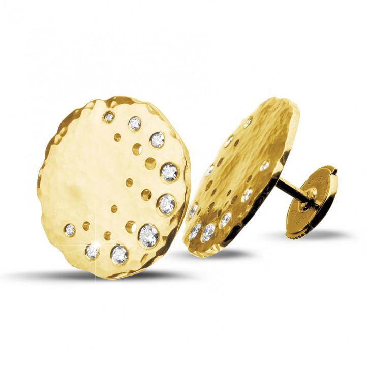 0.26 カラットのイエローゴールドダイヤモンドデザインイヤリング