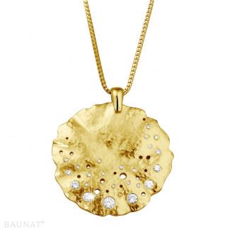 ネックレス - 0.46 カラットのイエローゴールドダイヤモンドデザインペンダント
